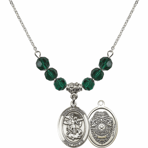 St Michael Police Emerald Swarovski Necklace by Bliss Mfg