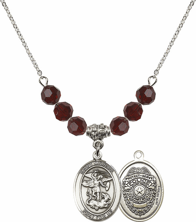 St Michael Police Garnet Swarovski Necklace by Bliss Mfg