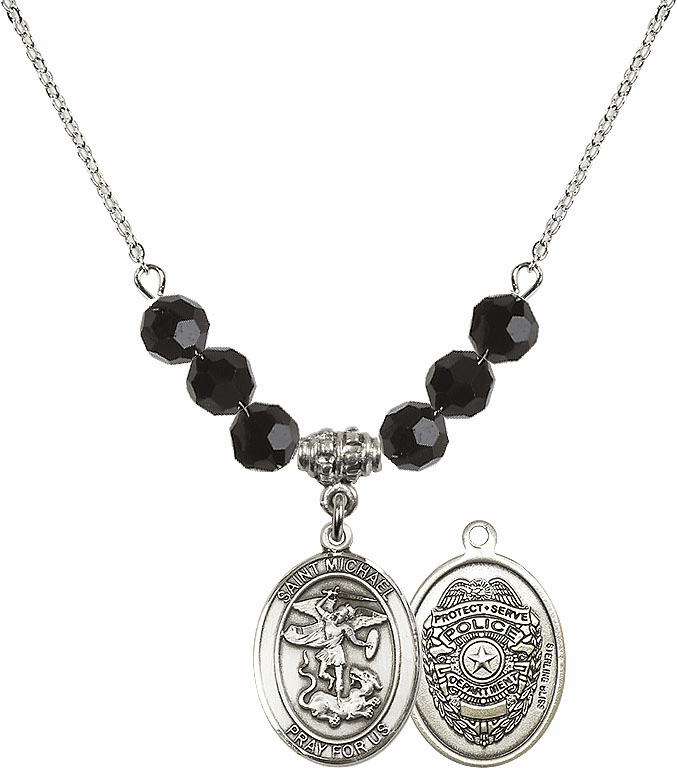 St Michael Police Jet Black Swarovski Necklace by Bliss Mfg
