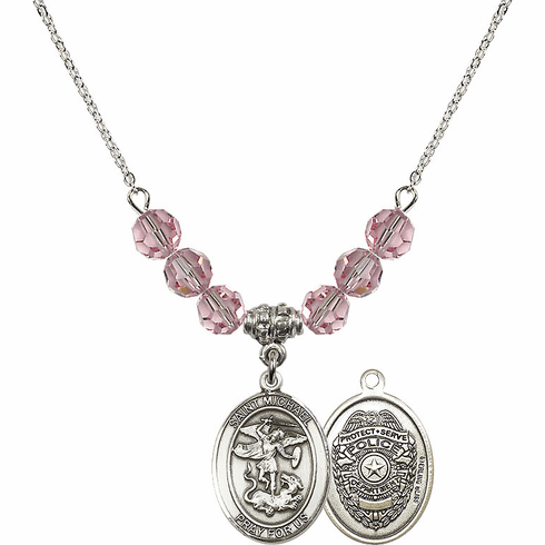 St Michael Police Lt Rose Swarovski Necklace by Bliss Mfg
