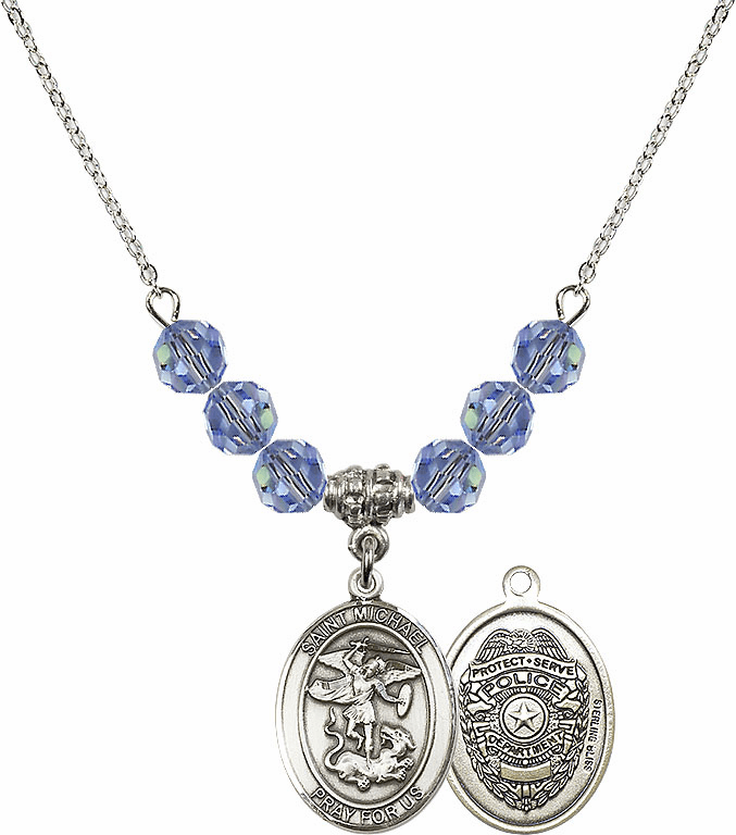 St Michael Police Lt Sapphire Swarovski Necklace by Bliss Mfg