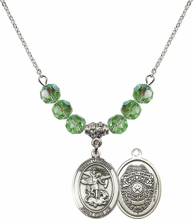 St Michael Police Peridot Swarovski Necklace by Bliss Mfg