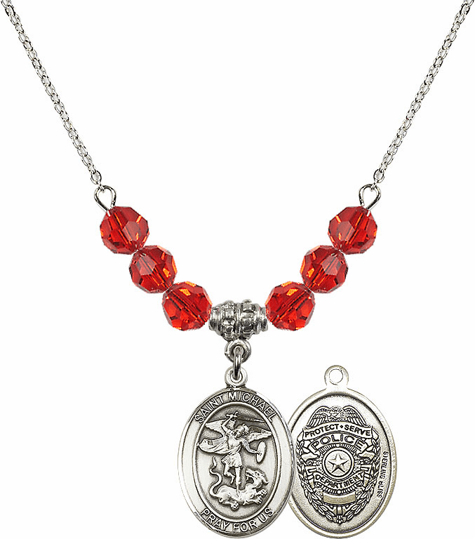 St Michael Police Ruby Swarovski Necklace by Bliss Mfg