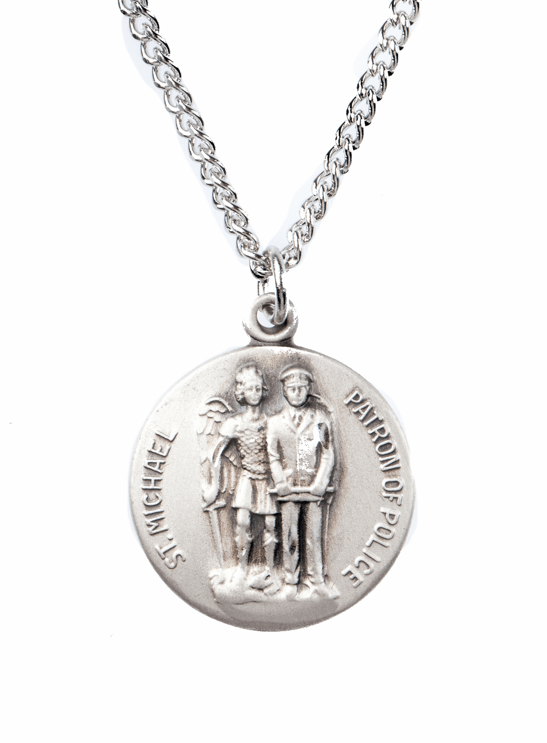 """St Michael Police Saint Medal Pendant w/18"""" Chain by Jeweled Cross"""