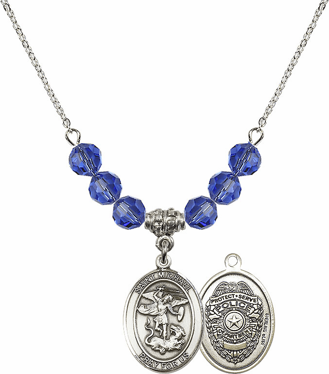 St Michael Police Sapphire Swarovski Necklace by Bliss Mfg