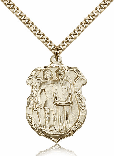 St Michael Police Shield 14kt Gold-filled Saint Necklace