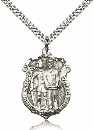 St Michael Police Shield Pewter Patron Saint Necklace