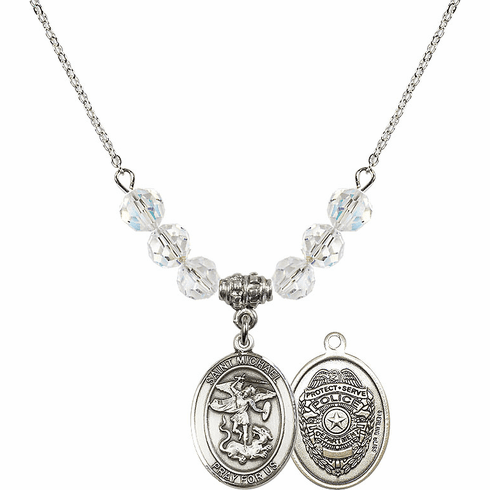 St Michael Police Swarovski Necklace by Bliss Mfg