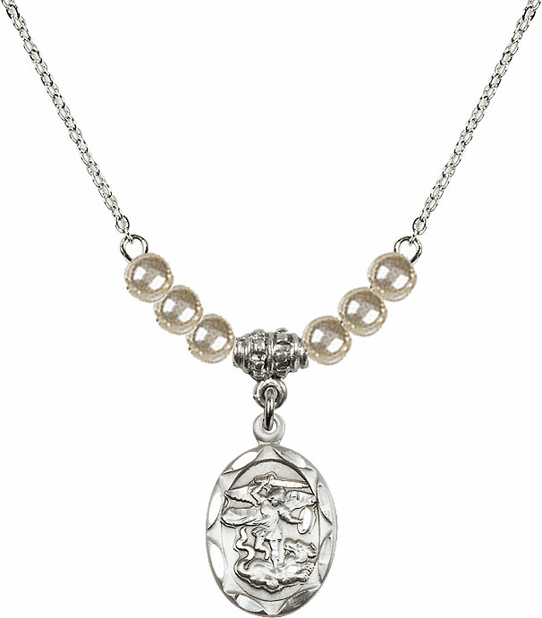 St Michael Sterling Silver Medal Sterling 4mm Faux Pearlsl Necklace by Bliss Mfg