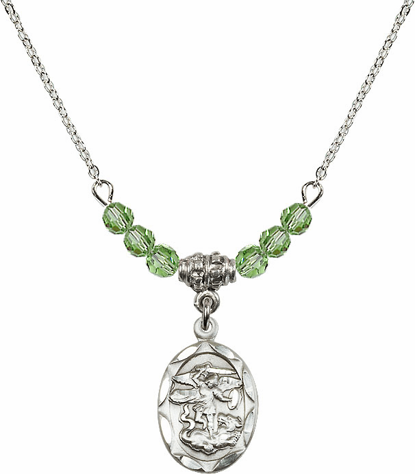 St Michael Sterling Silver Medal Sterling August Peridot 4mm Swarovski Crystal Necklace by Bliss Mfg