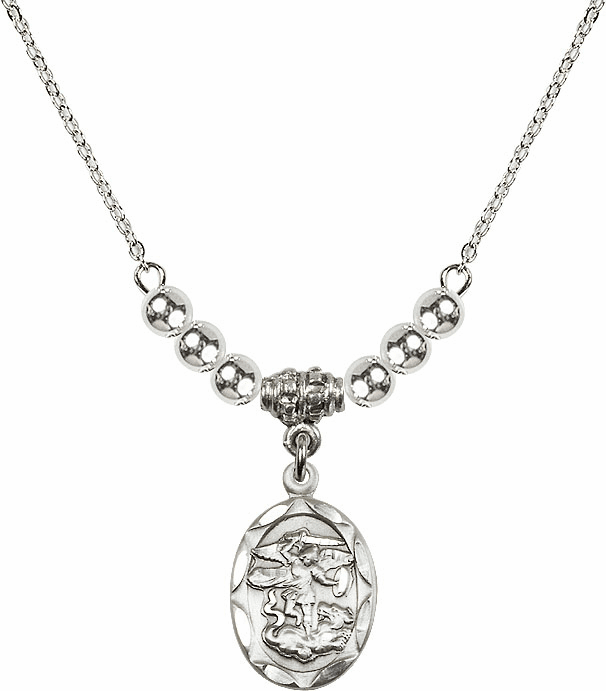 St Michael Sterling Silver Medal Sterling Charm w/4mm Silver Beaded Necklace by Bliss Mfg