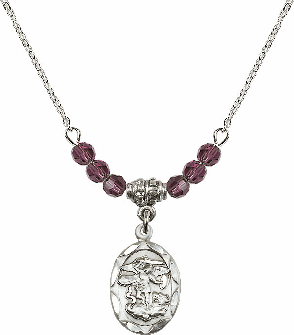 St Michael Sterling Silver Medal Sterling February Amethyst 4mm Swarovski Crystal Necklace by Bliss Mfg