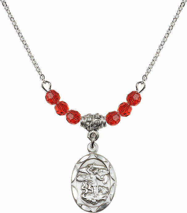 St Michael Sterling Silver Medal Sterling July Ruby 4mm Swarovski Crystal Necklace by Bliss Mfg