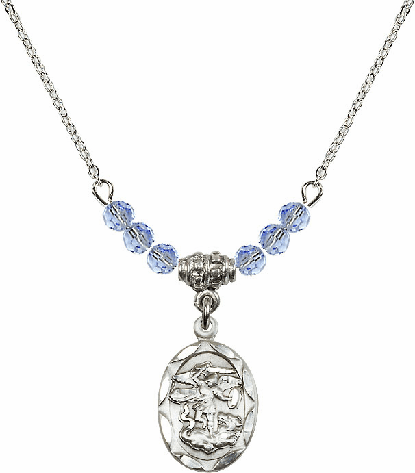 St Michael Sterling Silver Medal Sterling Lt Sapphire 4mm Swarovski Crystal Necklace by Bliss Mfg