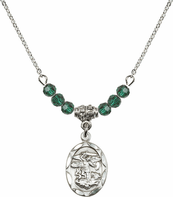 St Michael Sterling Silver Medal Sterling May Emerald 4mm Swarovski Crystal Necklace by Bliss Mfg