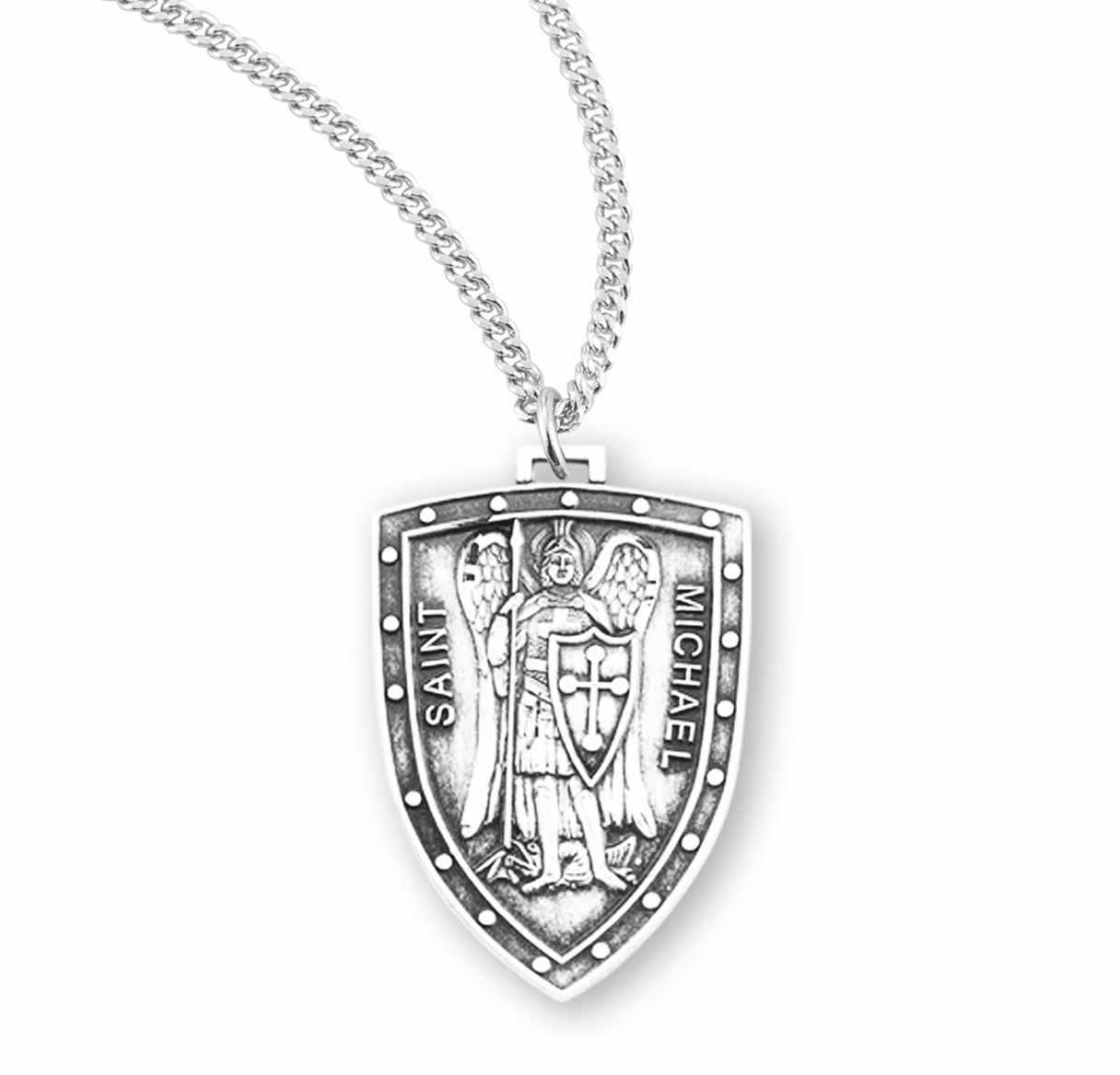 St Michael Sterling Silver Shield Necklace by HMH Religious