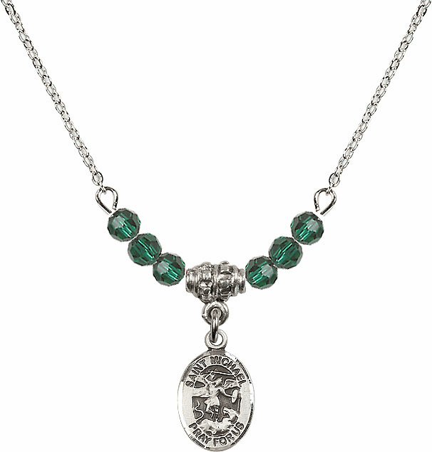 St Michael the Archangel Emerald Swarovski Beaded Necklace by Bliss Mfg
