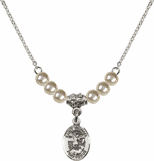 St Michael the Archangel Faux Pearl Beaded Necklace by Bliss Mfg