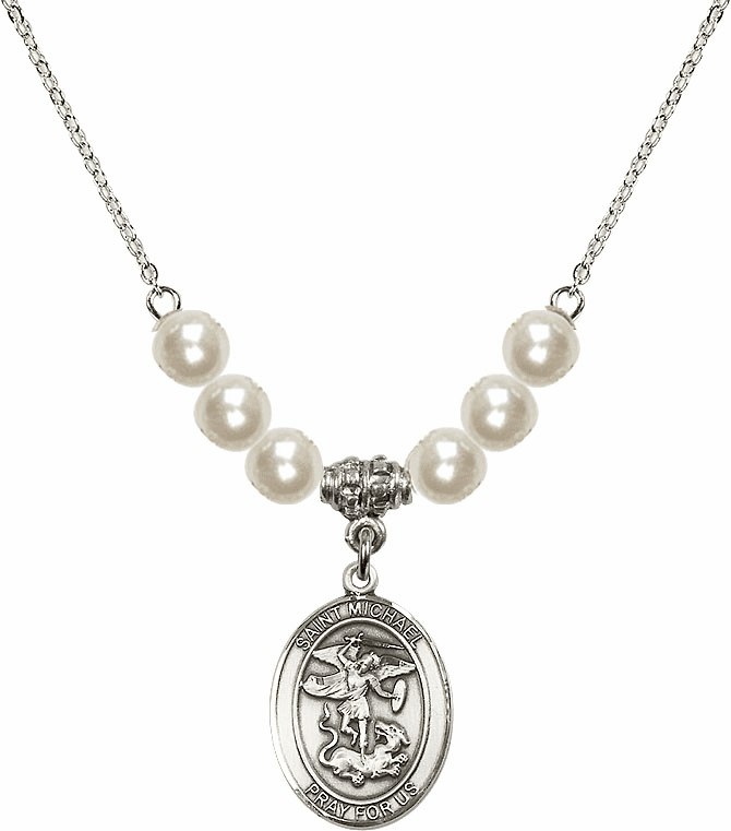 St Michael the Archangel Faux Pearl Necklace by Bliss Mfg