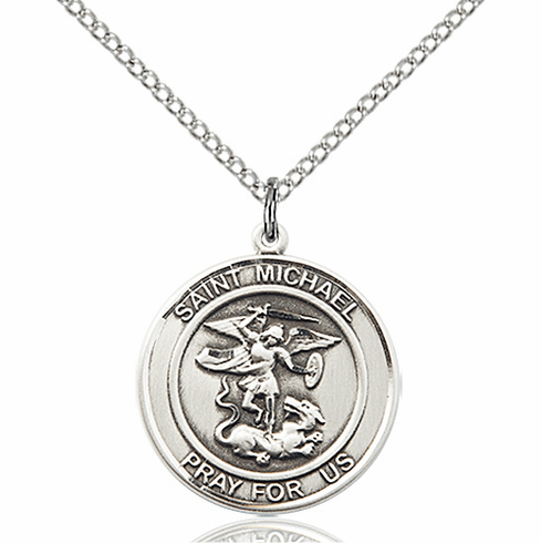 St Michael the Archangel Medium Patron Saint Silver-filled Medal by Bliss