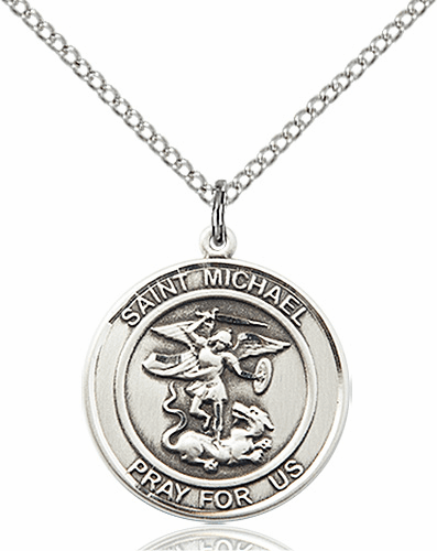 St Michael the Archangel Medium Sterling Silver Medal by Bliss