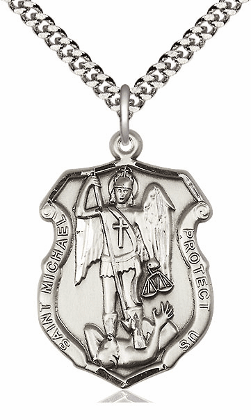 St Michael the Archangel Police Shield Silver Saint Medal by Bliss