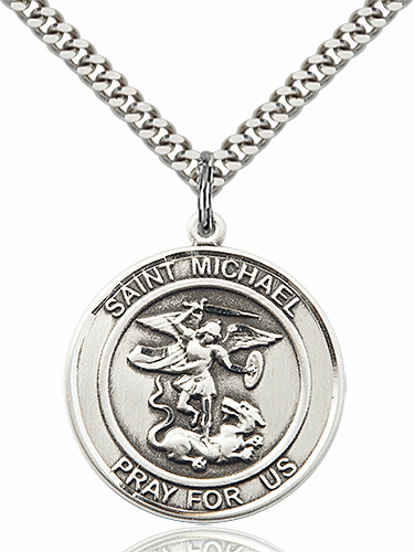 St Michael the Archangel Round Patron Saint Medal Necklace by Bliss