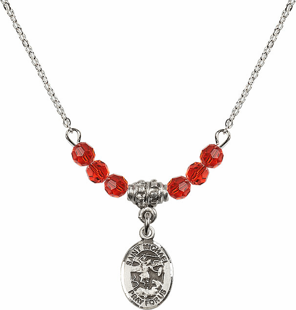 St Michael the Archangel Ruby Swarovski Beaded Necklace by Bliss Mfg