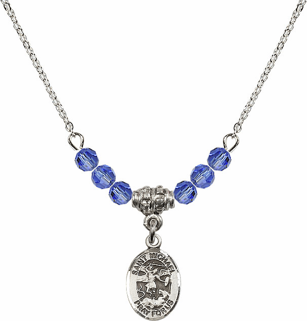 St Michael the Archangel Sapphire Swarovski Beaded Necklace by Bliss Mfg