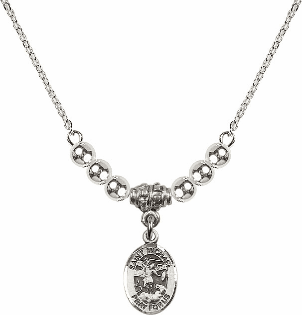 St Michael the Archangel Silver Beaded Necklace by Bliss Mfg