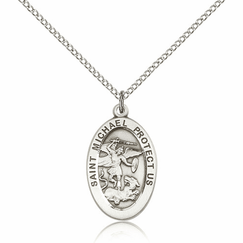 St Michael the Archangel Silver-filled Patron Saint Catholic Medal Necklace by Bliss