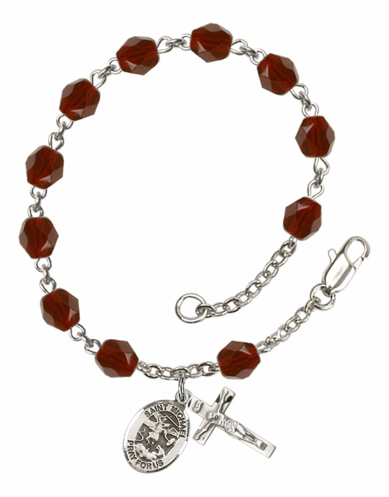 St Michael the Archangel Silver Plate Birthstone Rosary Bracelet by Bliss