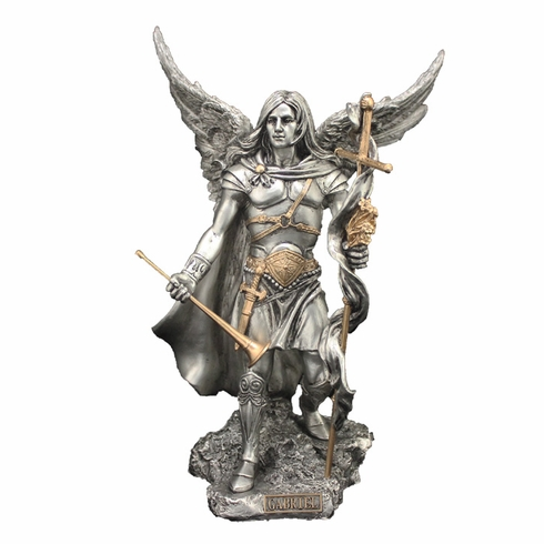 St Michael w/Horn and Cross Pewter Finish Statue by Veronese