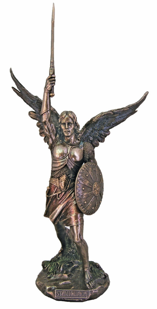 St Michael w/Spear and Shield Cold-Cast Bronze Statue by Veronese Collection