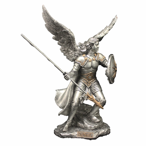 St Michael w/Spear and Shield Pewter Finish Statue by Veronese