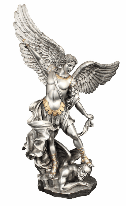 "St Michael with Satan Under His Feet 14.5"" Pewter Finish Statue by Veronese"