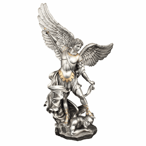 """St Michael with Satan Under His Feet 14.5"""" Pewter Finish Statue by Veronese"""