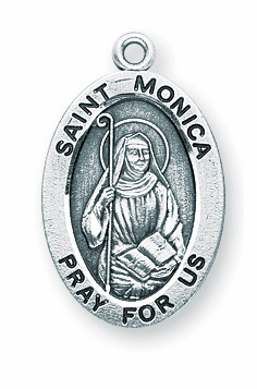 St Monica Catholic Saint Sterling Silver Medal Necklace