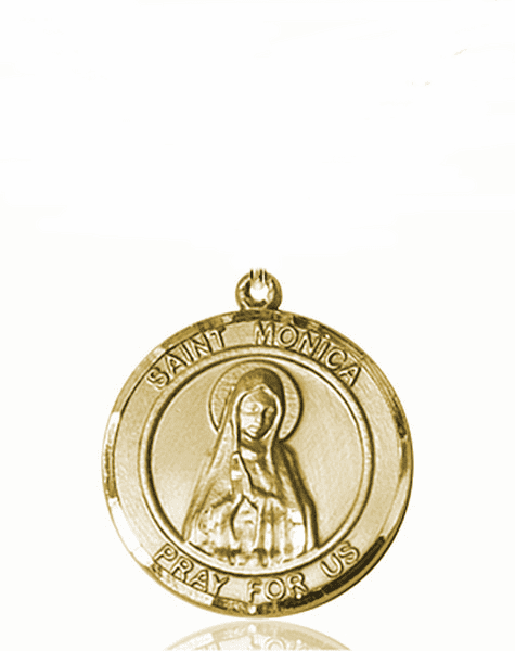 St Monica Medium Patron Saint 14kt Gold Medal by Bliss