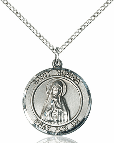 St Monica Medium Patron Saint Silver-filled Medal by Bliss