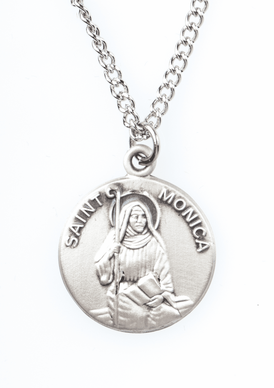 "St Monica Saint Medal Pendant w/18"" Chain by Jeweled Cross"