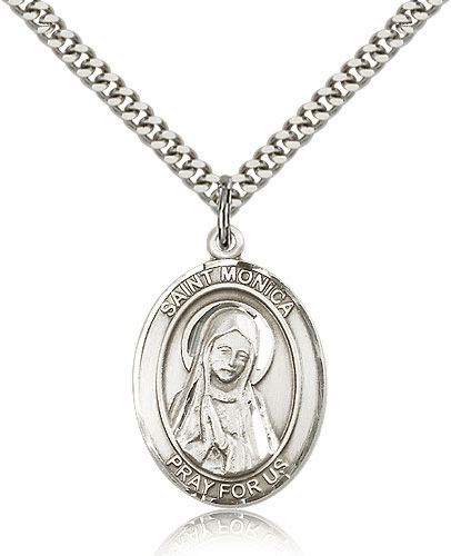 St Monica Silver-filled Patron Saint Necklace with Chain by Bliss