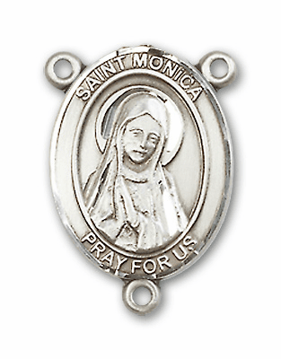 St Monica Sterling Silver Saint Rosary Center by Bliss