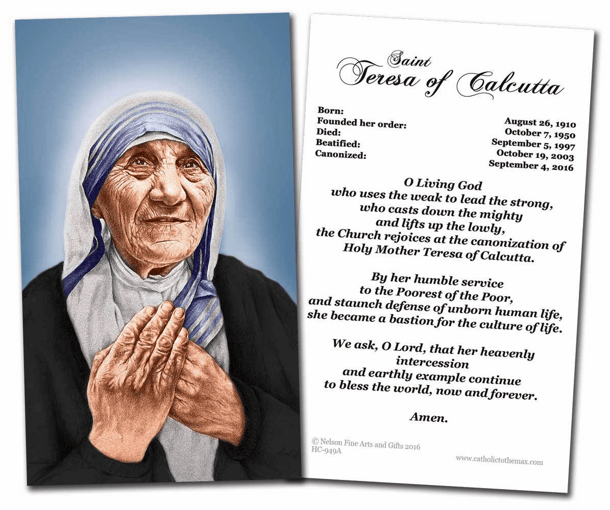 St Mother Teresa of Calcutta Canonization Prayer Card by Nelson