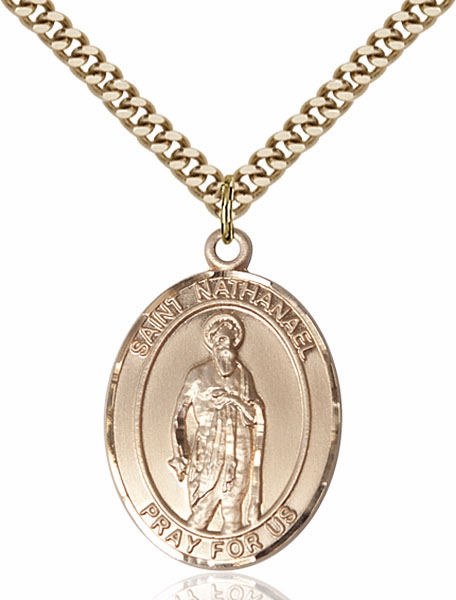 St Nathanael Gold Filled Medal Necklace by Bliss