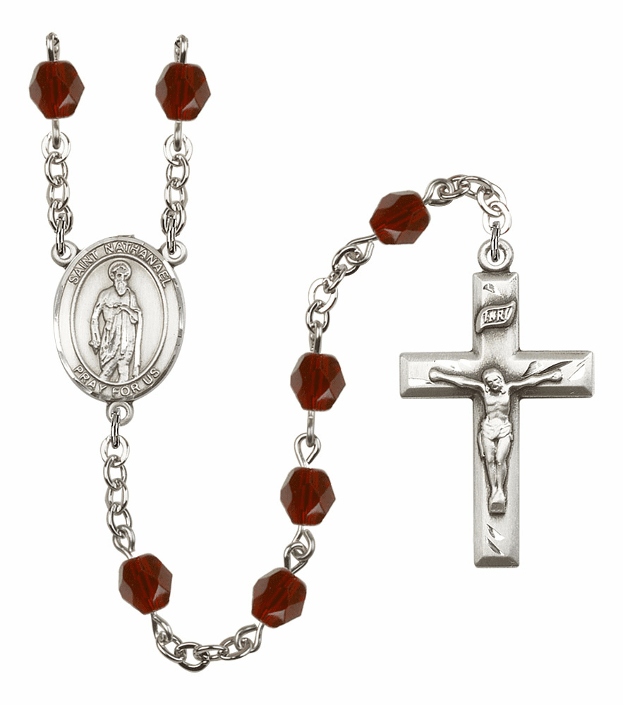 St Nathanael Silver Plate Birthstone Crystal Prayer Rosary by Bliss