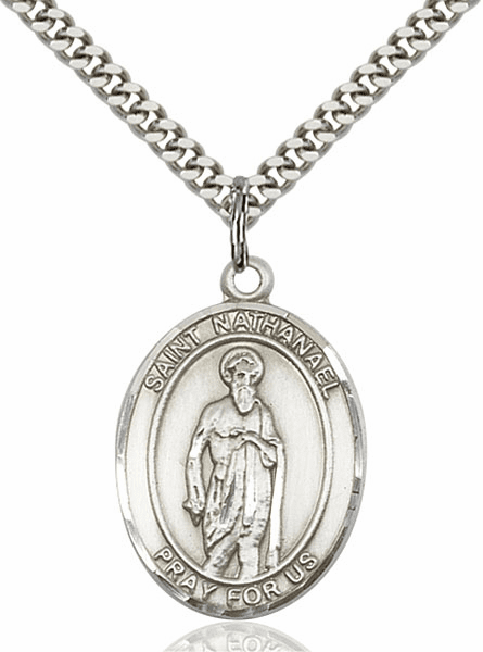 St Nathanael Sterling Silver Saint Pendant Necklace by Bliss Mfg