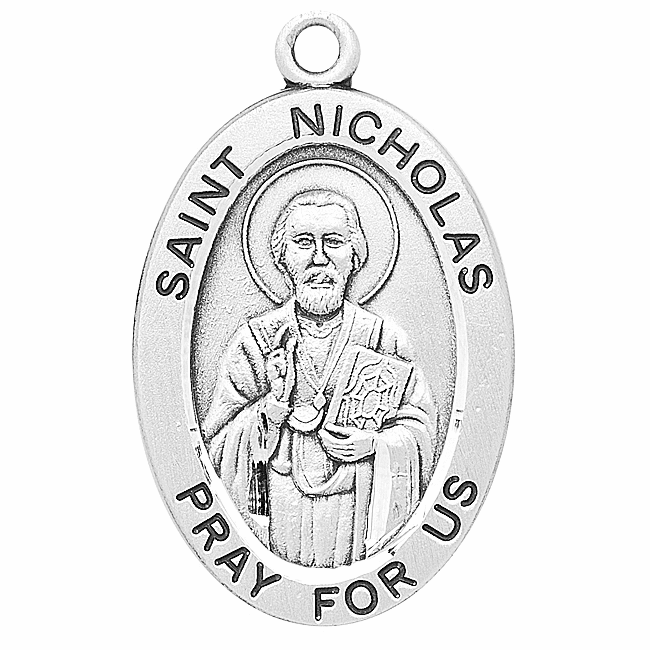St Nicholas Large Oval Sterling Silver Patron Saint Medals by HMH Religious