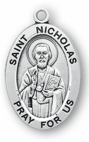 HMH Religious St Nicholas Large Saint Sterling Silver Medal Necklace w/Chain