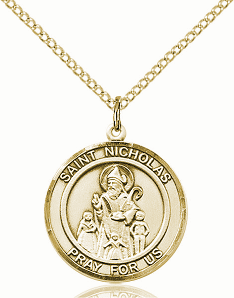 St Nicholas Medium Patron Saint 14kt Gold-filled Medal by Bliss